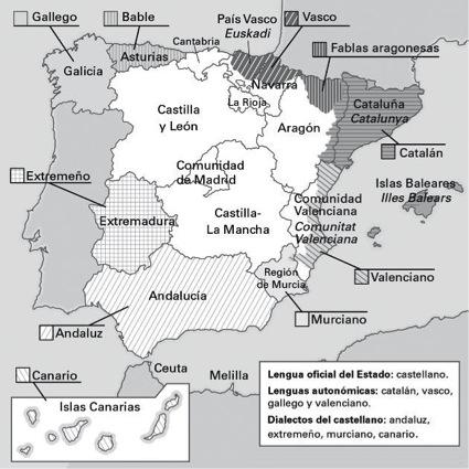 Dialectos De España Mapa.Las Lenguas De Espana Dandole A La Lengua Y A La Literatura